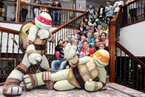 Samen met de Ninja Turtles op de foto