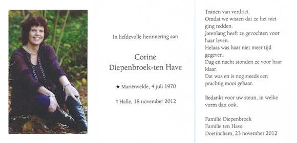 In liefdevolle herinnering aan Corine Diepenbroek-ten Have